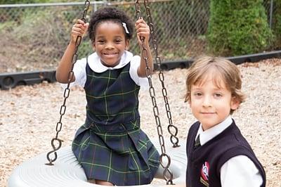 children on swings